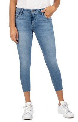 KUT from the Kloth Connie Mid Rise Raw Hem Cropped Skinny Jeans