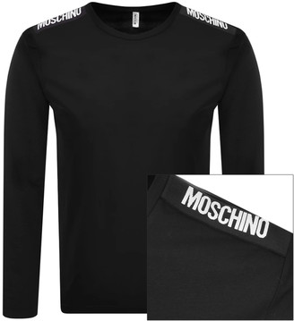 Moschino Taped Logo Long Sleeved T Shirt Black