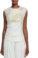 DKNY Sleeveless Foiled Lace Paneled Top, Gesso/Gold