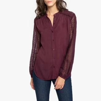 Anne Weyburn Laced Grandad-Collar Shirt with Long Sleeves