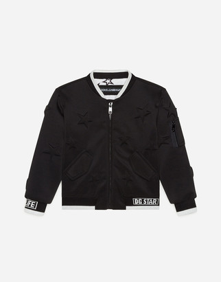 Dolce & Gabbana Neoprene Bomber Jacket With Embossed Stars