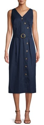 Time and Tru Women's Button Dress with Belt