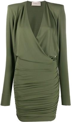 Alexandre Vauthier Wrap Long-Sleeve Mini Dress