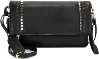Sole Society Studded Foldover Faux Leather Crossbody Bag