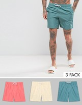 Asos Swim Shorts 3 Pack In Pink Yellow & Blue In Mid Length Save