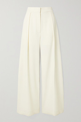 The Row Avril Pleated Crepe Wide-leg Pants - Off-white