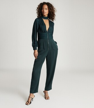 Reiss Kinley - Plunge V-neck Jumpsuit in Green