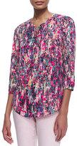NYDJ 3/4-Sleeve Printed Pleated-Back Blouse, Spring Confetti