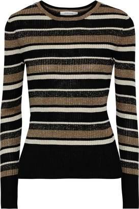 Frame Metallic Striped Ribbed-knit Top