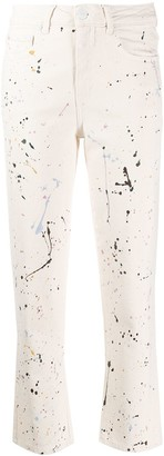 Closed Paint Splatter Straight Cropped Jeans