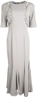 Thierry Mugler Vintage Beige Cutout Detail Flared Bottom Maxi Dress L