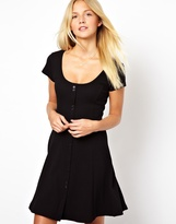 Asos Skater Dress In Rib With Button Through Detail - Black
