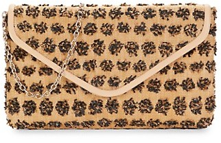 La Regale Raffia Embroidered Fringe Crossbody Bag