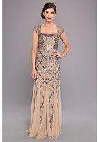 Adrianna Papell Women's Cap-Sleeve Beaded Gown