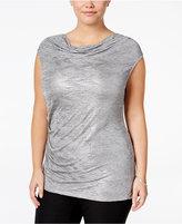 Calvin Klein Plus Size Metallic Cowl-Neck Top