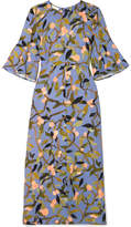 Stine Goya Kirsten Floral-print Crepe De Chine Midi Dress - Blue