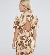 Asos Mini Smart Woven Dress With V Back In Tropical Print