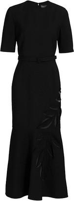 Oscar de la Renta Short Sleeve Crew Neckline Cocktail Dress
