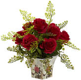 Asstd National Brand Nearly Natural Rose & Maiden Hair Floral Planter