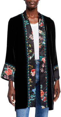 Johnny Was Velvet & Floral Print Belted Kimono Jacket