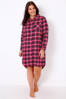 Yours Clothing Pink & Navy Brushed Check Nightshirt With Metallic Thread