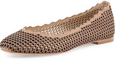 Chloé Perforated Leather Ballerina Flat, Beige Rose