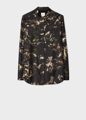 Paul Smith Women's Dark Green 'Floral Photo' Print Silk Shirt