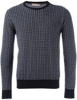 Cruciani patterned round neck jumper
