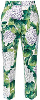 Dolce & Gabbana hydrangea print cropped trousers - women - Cotton/Spandex/Elastane - 38