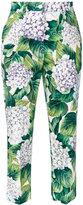 Dolce & Gabbana hydrangea print cropped trousers - women - Cotton/Spandex/Elastane - 42