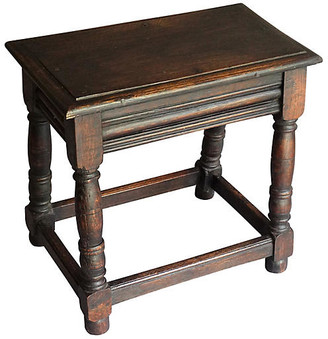 One Kings Lane Vintage Antique English Oak Joint Stool - Faded Rose Antiques LLC - brown