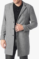 7 For All Mankind Long Overcoat In Herringbone Grey