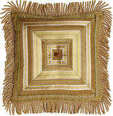 "Sweet Dreams Mitered-Stripe Pillow with Gimp Accents & Bullion Fringe, 18""Sq."
