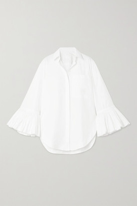 Valentino Ruffled Cotton-poplin Blouse - White