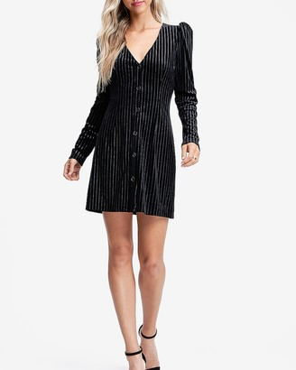Express Emory Park Velvet Stripe Long Sleeve Mini Dress