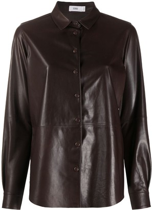 Closed Tonal Stitching Leather Shirt