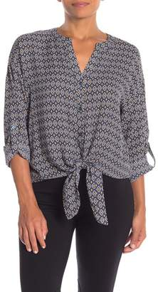 Pleione Split Neck Tie Front Blouse