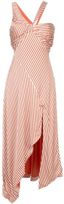 Jonathan Simkhai Striped Twist Ruffle Dress