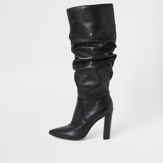 River Island Black leather slouch heel boot