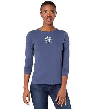 Life is Good Snowflake Long Sleeve Crushertm Tee (Darkest Blue) Women's T Shirt