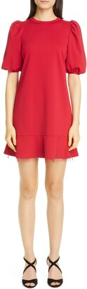 RED Valentino Puff Sleeve Ruffle Hem Minidress