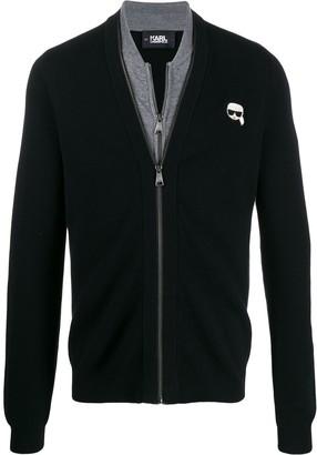 Karl Lagerfeld Paris Ikonik logo zipped cardigan