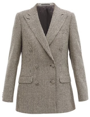 Officine Generale Manon Double-breasted Houndstooth-twill Blazer - Black White