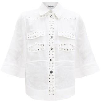 Ganni Studded Linen Shirt - White