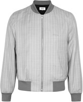 Frère Grey striped wool and silk-blend bomber jacket