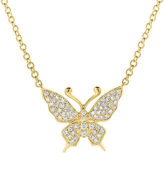 Sabrina Designs 14K 0.16 Ct. Tw. Diamond Butterfly Necklace