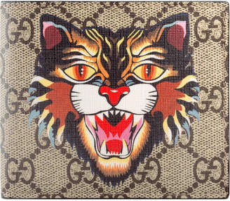 Gucci Bifold Wallet GG Supreme Angry Cat Print Beige