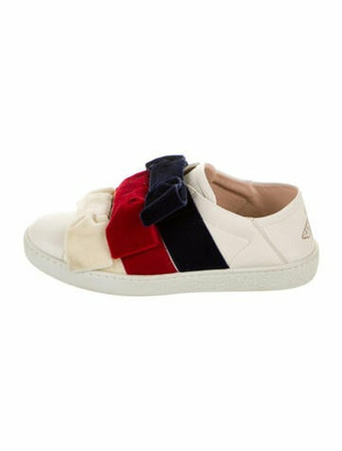 Gucci Sylvie Web Accent Leather Sneakers White