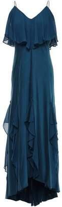 Halston Draped Stretch-silk Crepe De Chine Midi Dress