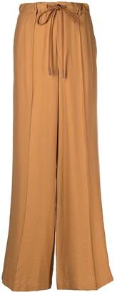 Alysi High-Rise Drawstring Wide-Leg Trousers